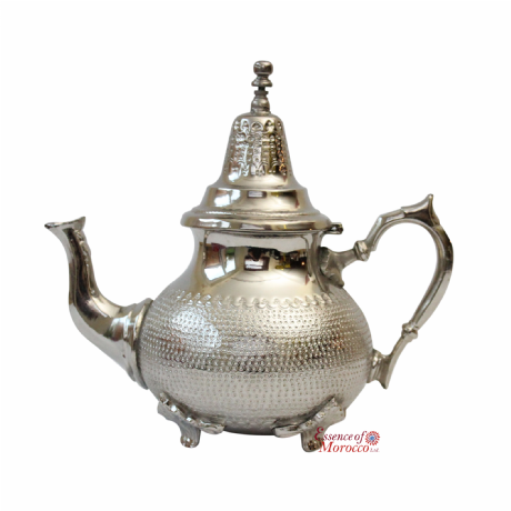 Vintage MOROCCAN SILVER TEAPOT Hammered Floral Pattern Large (Ref. B)